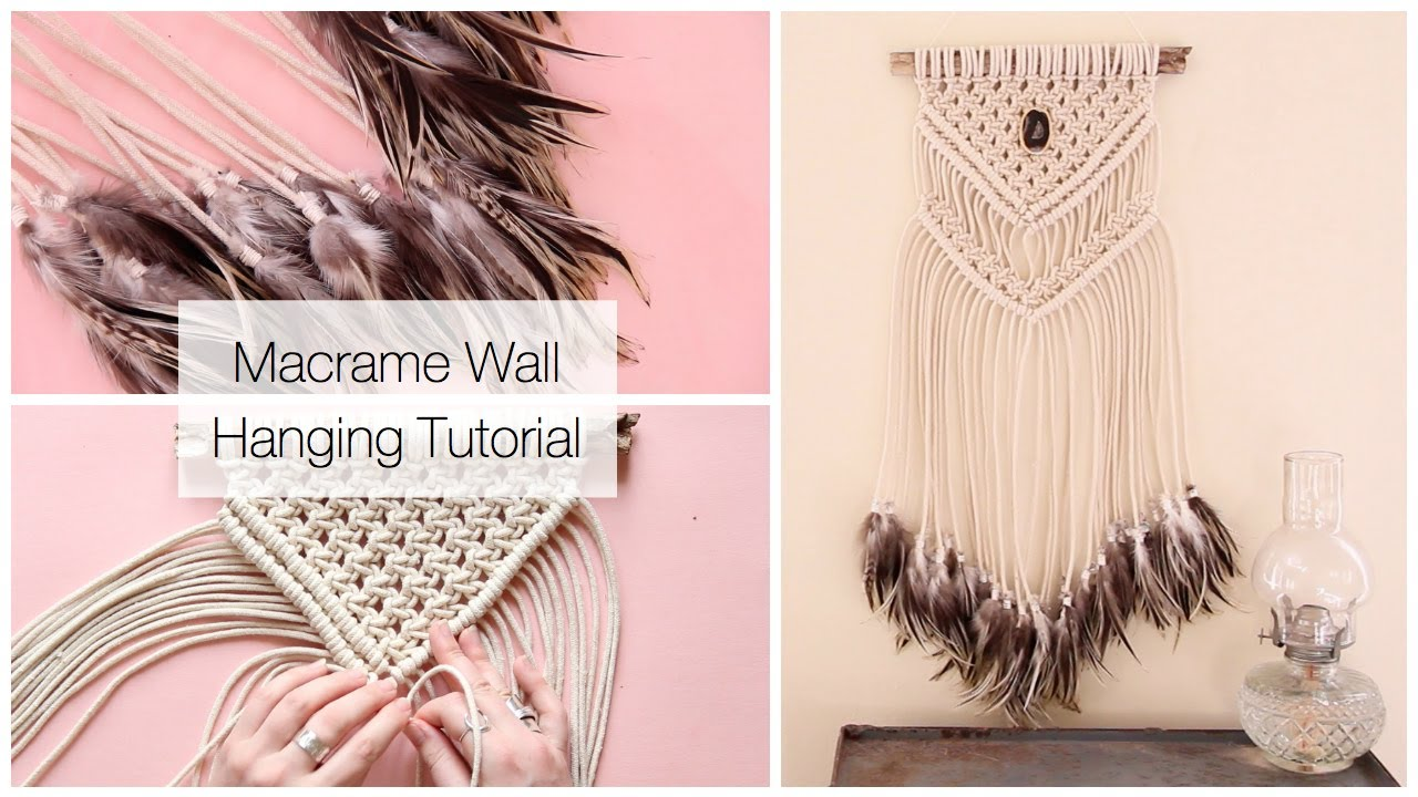 How To Make A Macrame Wall Hanging Dreamcatcher With Feathers Tutorial Youtube