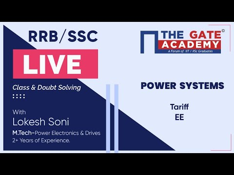 Tariff Of Power Systems | RRB /SSC Live Lectures