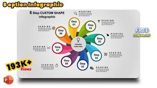 9.Create 8 step CUSTOM SHAPE infographic/PowerPoint Presentation/Graphic Design/Free Template