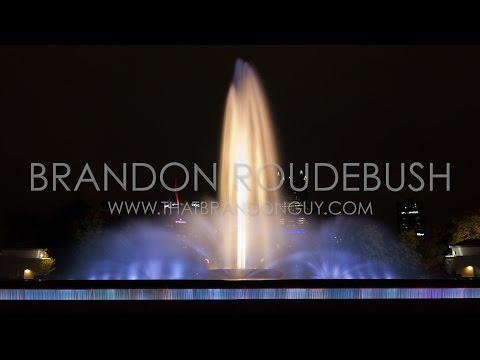 Night Timelapse of Colorful Water Fountain at The Point in Pittsburgh - Royalty Free Stock Footage
