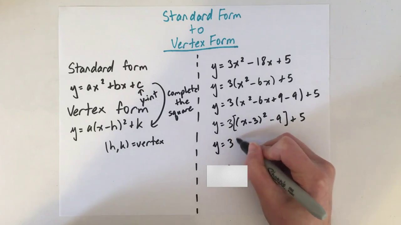 EASY! Convert Standard Form to Vertex Form - YouTube