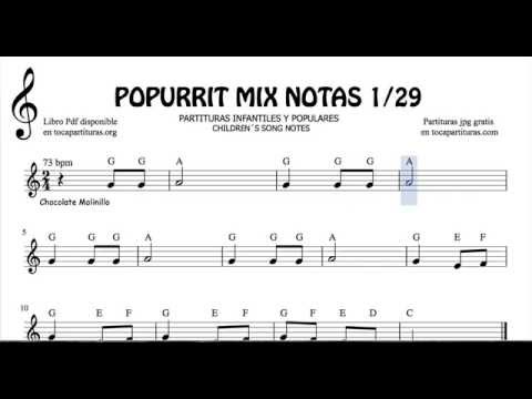 1 of 29 Popurrit Mix Notes Sheet Music in Treble Clef Children's Songs