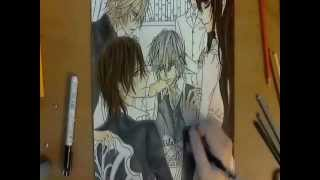Speed Drawing Kaname, Zero, Yuki, Aido and Takuma from Vampire Knight