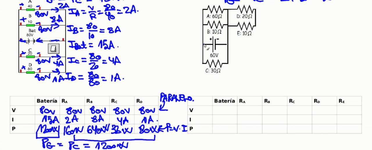 Circuito En Paralelo Ejemplos : Electricidad ejercicios resuelto circuito paralelo