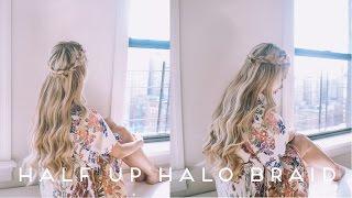 HAIR TUTORIAL | Half Up Halo Braid Soft Romantic Curls