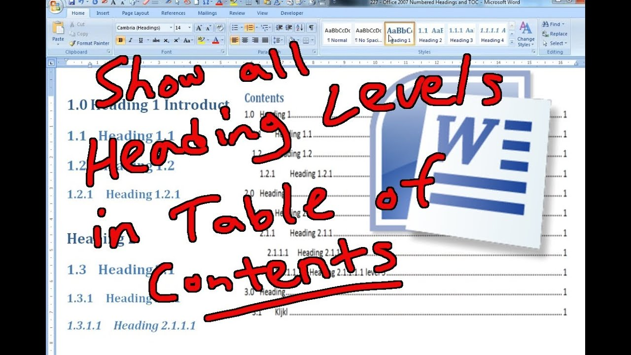 Showing Heading Levels in Table of Contents - Office Word ...