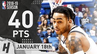 D'Angelo Russell UNREAL Highlights Nets vs Magic 2019.01.18 - 40 Pts, 7 Ast, 2 Rebounds!