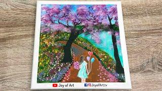 Cherry Blossom Lakeside | Acrylic Painting on Canvas | Joy of Art