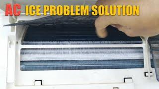 How to remove indoor evaporator ice Split AC low cooling problem solve Urdu Hindi