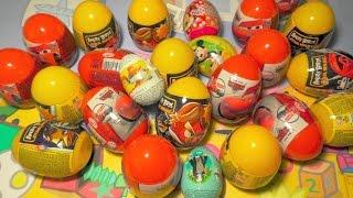 Surprise eggs: Disney Cars, Angry birds, Mickey Mouse, Peppa pig, toy collection, a lot of candy