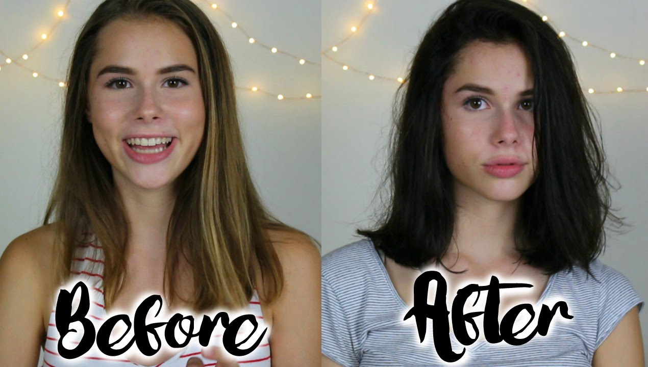 Watch Me Cut And Dye My Hair From Light To Dark Sara Farre Youtube