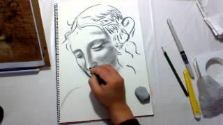 「レオナルド・ダ・ヴィンチ」の 「ほつれ髪の少女」という作品を、 模...