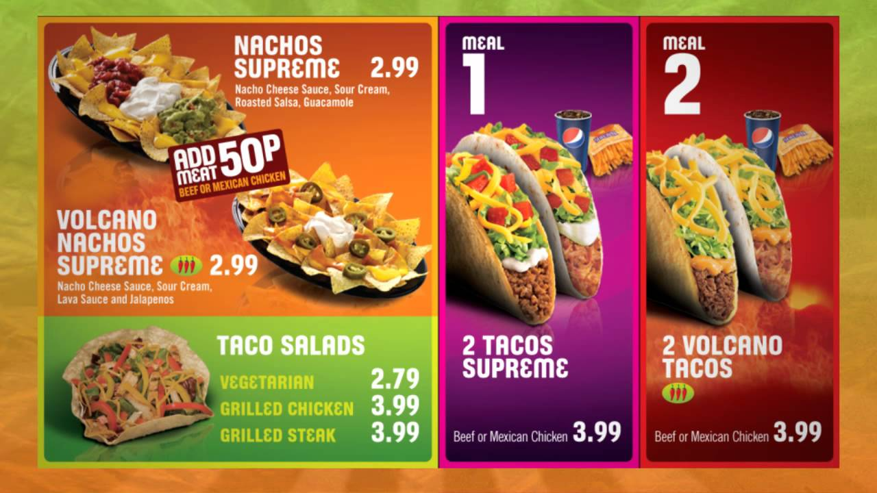 Tacobell Curtain Menu For Digital Menu Board Fast Food Menu Vegan Fast Food Food Menu