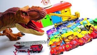 Learn colors Disney cars and dinosaur street vehicle car toys GUGU COLOR Kids