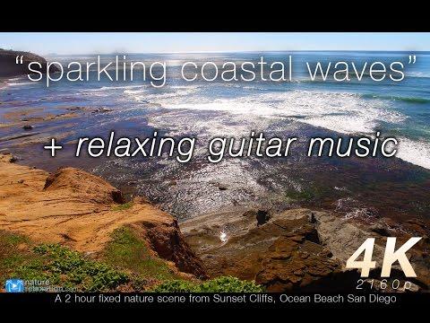 """[music version] 2 HR 4K Still Nature Video """"Sparkling Coastal Waves"""" Ocean Beach, San Diego"""