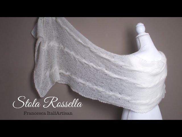 Stola Rossella - tutorial ferri - sciarpa/scialle rettangolare in kid mohair