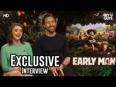 Maisie Williams & Tom Hiddleston   Early Man (Aardman) Exclusive Interview