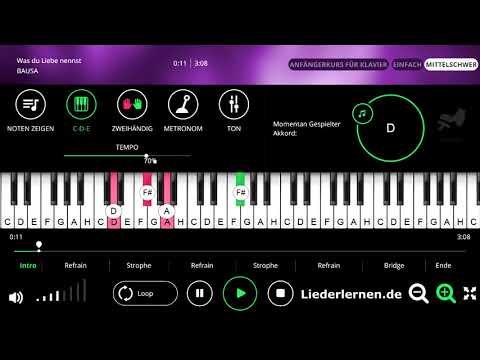 BAUSA - Was du Liebe nennst - Klavier lernen - Musiknoten - Akkorde