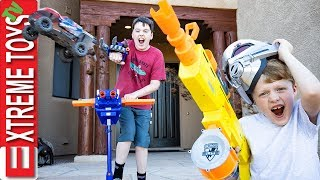 Avengers Endgame No Spoilers Nerf Battle! Ethan Vs. Cole RC Car Mayhem.