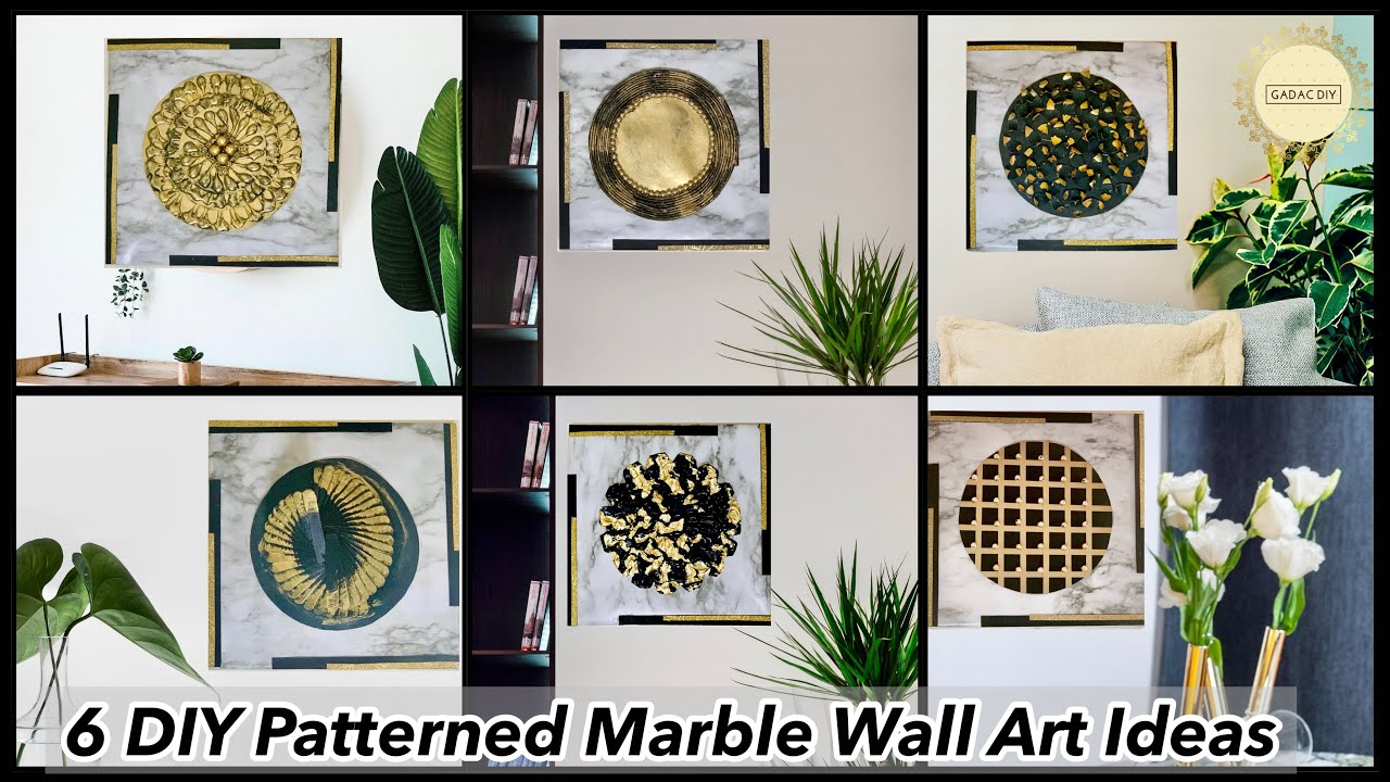 6 DIY Unique Patterned Marble Finish Wall Art Ideas|gadac diy|craft ideas for home decor|wall decor