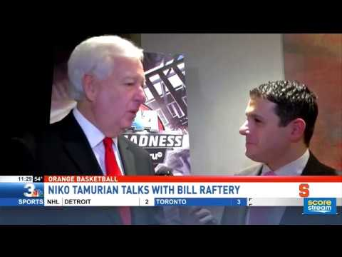Niko Tamurian visits with legendary CBS college basketball announcer Bill Raftery