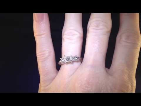 Certified Zales Princess Cut 3 Stone Platinum Diamond Engagement Ring with Warranty