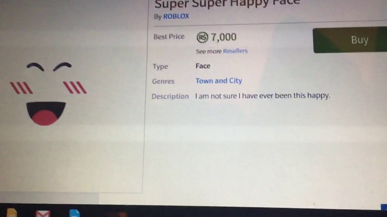 Buying Super Super Happy Face For 7 000 Robux Youtube