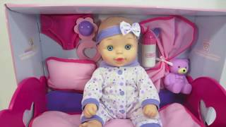 Doll Baby with Baby Doll Bed Rocking Cradle Drinks and Pees Diaper Change Doll