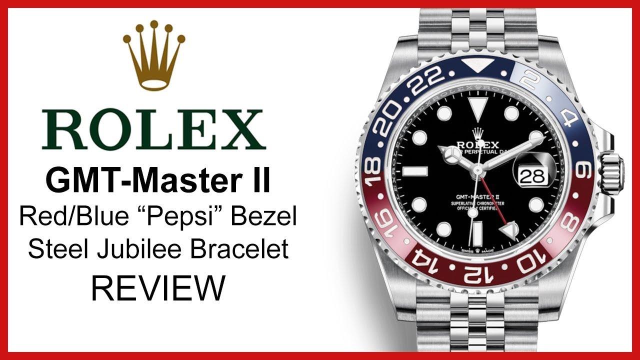 ▶ Rolex GMT,Master II \u201cPepsi\u201d, Red/Blue Ceramic Bezel, Steel Jubilee  Bracelet , REVIEW 126710BLRO