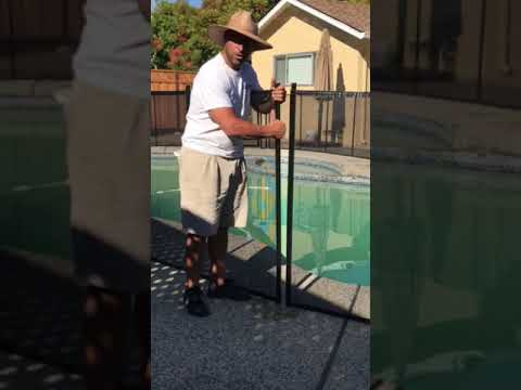 Baby Barrier Pool Fence Remove 1 Pole Youtube