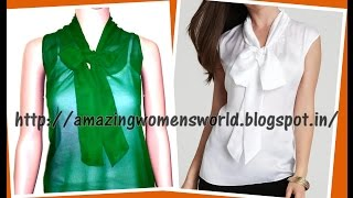 BOW COLLAR TIE NECKLINE TOP - EASY MAKING