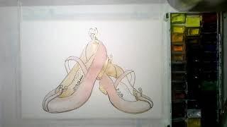 Учимся рисовать ТУФЕЛЬКИ акварелью | рисовать девушка мода