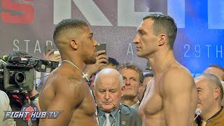 THE OFFICIAL ANTHONY JOSHUA VS. WLADIMIR KLITSCHKO WEIGH IN AND FACE OFF VIDEO!