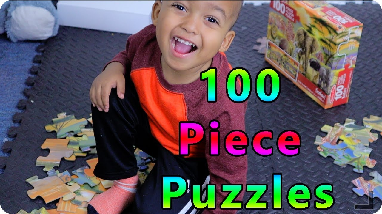 Kids do 100 PIECE Animal Puzzle - Videos for Kids - YouTube