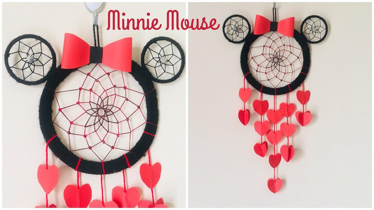 Minnie Mouse Wall Hanging Kids Room Decor Idea Diy Dream Catcher Diy Disney Room Decor