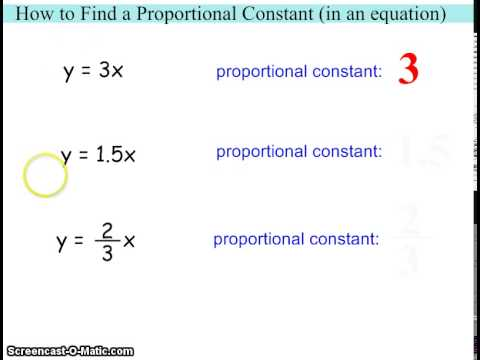 How To Find A Proportional Constant In An Equation Youtube