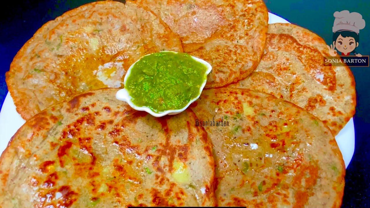 बिना  आटा गुंधे झटपट बनाये व्रत वाला आलू पराठा Liquid Dough Vrat Aloo paratha Navratri Aloo Paratha