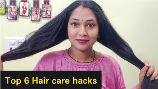 Top 6 Hair care hacks|correct way to apply shampoo,conditioner|Split ends,Hair fall,Hair mask,Spa