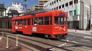 道後温泉駅にて、伊予鉄道の路面電車をいくつも撮影