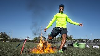 Kicking flaming footballs thru the pipes ! SUBSCRIBE TO THE CHANNEL...