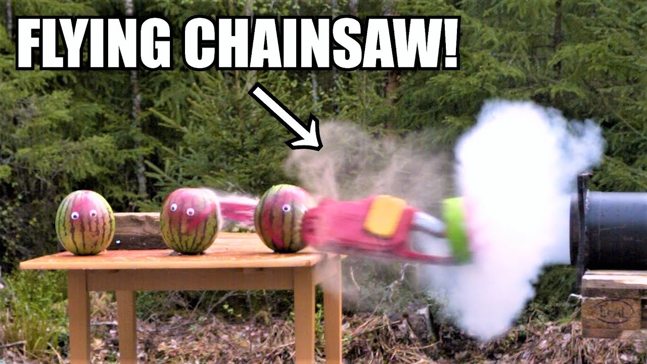 Chainsaw Cannon Vs. Ballistic Gelatin and Watermelon Zombies