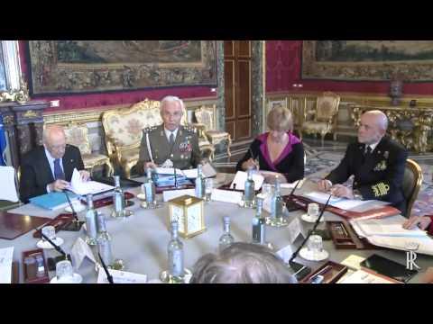 Renzi e Napolitano - Consiglio Superiore della Difesa al Quirinale