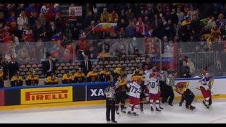 Вторая драка между игроками 0:4 Германия -  Россия Чемпионат мира по хоккею 2017