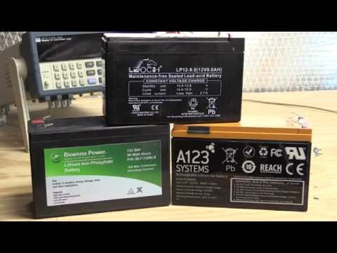 12V Battery Performance Comparison - Sealed Lead Acid vs A123 and Bioenno LiFePO4