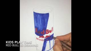3D Red Bull drawing, flying red bull