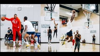 Carmelo Anthony, CJ McCollum, JR Smith & More Scrimmage & Obadiah Toppin WINDMILLS An Alley Oop