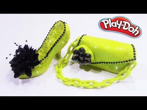DIY Disney Princess Belle High Heel Play Doh Glitter – How to Make Princess High Heel Bag Play Doh