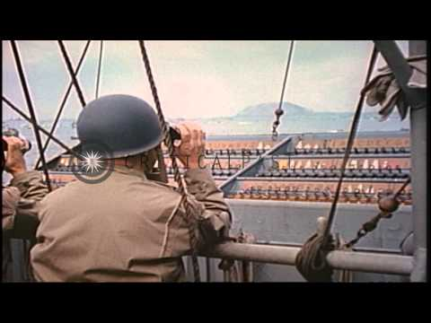 Admiral Turner and Secretary of Navy Forrestal read messages on flag bridge of a ...HD Stock Footage