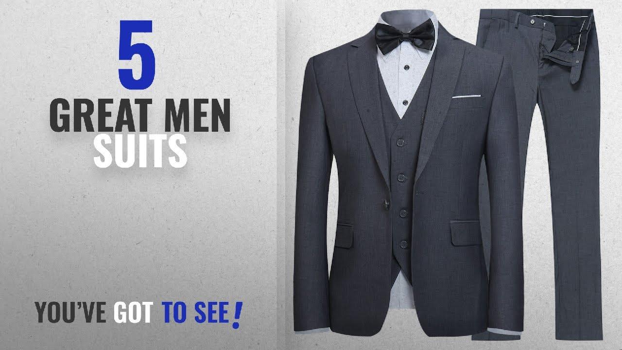 53a9817e70e9 Top 10 Mens Suits [ Winter 2018 ]: YFFUSHI Men's Slim Fit 3 Piece Suit One  Button Blazer Tux Vest &