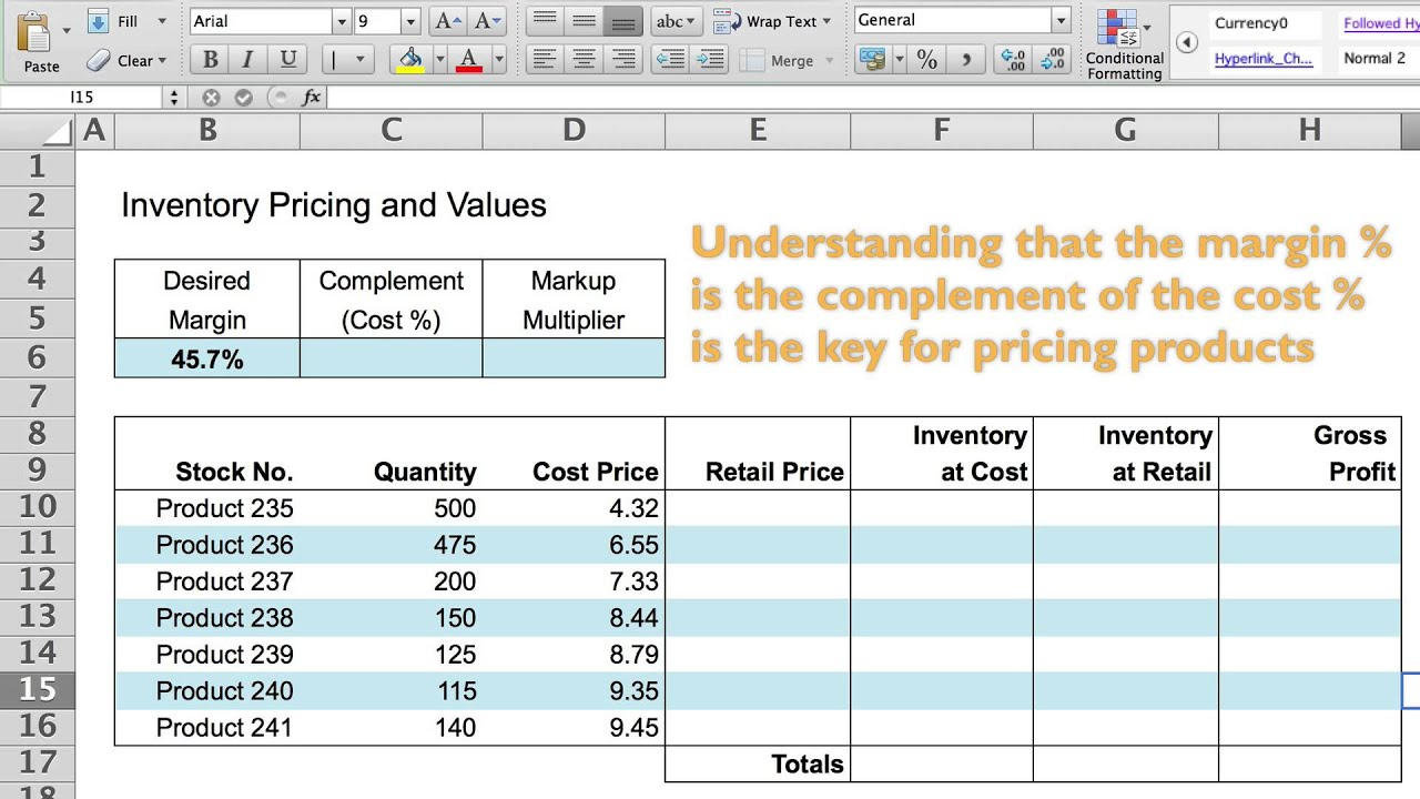 a spreadsheet model for pricing goods youtube